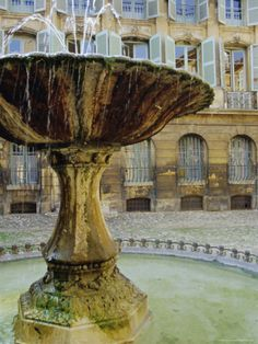 Fountain, Place d'Albertas, Aix En Provence, Provence, France, Europe Photographic Print by John Miller