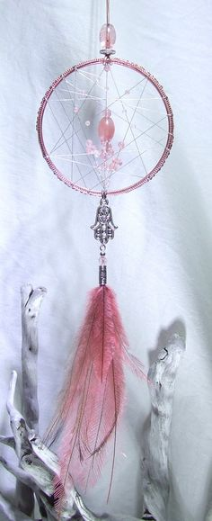 Hamsa Hand Wall Hanging Dreamcatcher Hand of Fatima Protection Amulet Cherry Quartz Ornament Crystal Dream Catcher Peach Pink Bedroom Decor by TigerEmporium on Etsy
