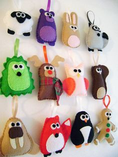 Felt Christmas Ornaments - 12 Days of Christmas - 12 Ornament Set