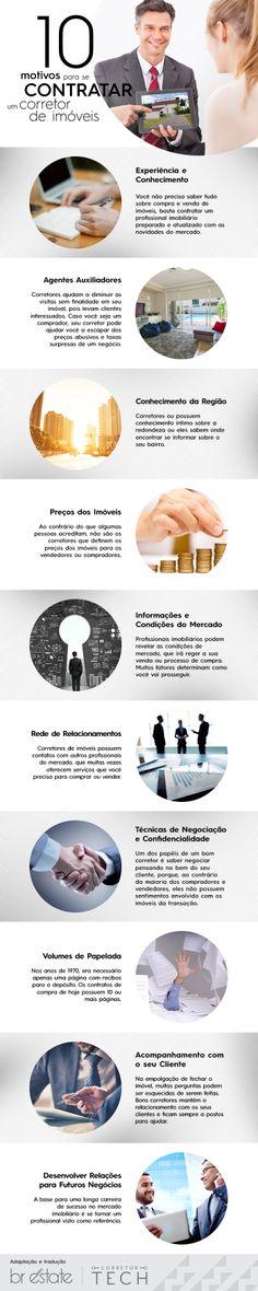 10 Motivos para se contratar um corretor de imóveis [Infográfico]  #corretor #imóveis