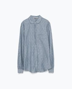 NEON ORANGE DOTTED CHAMBRAY SHIRT-Check-Tops-WOMAN | ZARA United Kingdom