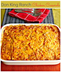 This Don King Ranch Chicken Casserole is more of a chicken enchilada casserole. It is rich, creamy and delicious...perfect for the colder weather! // #Casserole #Chicken#Enchiladas #ColdWeather http://www.ifood.tv/recipe/don-king-ranch-chicken-casserole