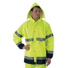 Lakeland: Hi-Vis Rain Jacket with Reflective Trim- This comfortable, adaptable jacket offers protection from wind and rain while providing ultimate visibility at a great price. With the unique back ventilation, you won't feel stifled during a summer storm. Lightweight construction and options for larger sizes (S-5XL) allows for maximum comfort and mobility. This jacket is perfect for event staff, traffic control, road crews, municipal workers, or waste management personnel. #TheFireStore