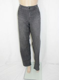 White House Black Market Black Denim Jean Pant with Velvet Applique Size 14R