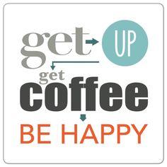 .Acorda -> levanta-te -> toma um café -> sê feliz