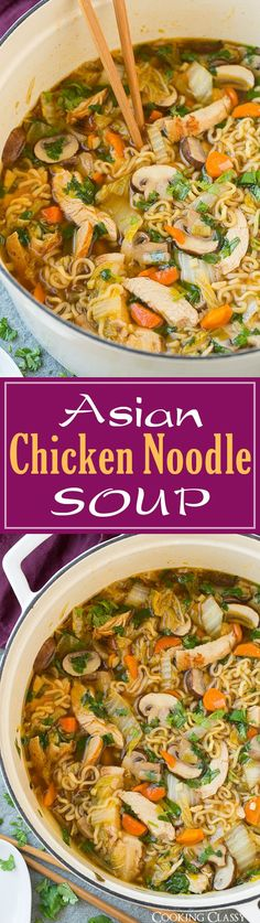 Asian Chicken Noodle Soup - this ramen spin on chicken noodl.- Asian Chicken Noodle Soup – this ramen spin on chicken noodle soup is SO DELICIOUS! Easy to make and perfect for a cold fall day! Healthy Recipes, New Recipes, Yummy Recipes, Crockpot Recipes, Dinner Recipes, Cooking Recipes, Ramen Noodles Recipes Easy, Ramin Noodle Recipes, Soft Food Recipes