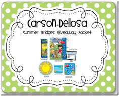 "Teaming up with Carson-Dellosa for a ""Summer Bridges"" Giveaway Pack  @ www.mrsfreshwatersclass.com"