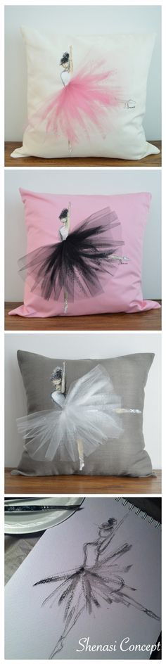 From sketch to final shenasi concept - ballerina pillow designs