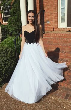 Pretty A-line Black and White Sweetheart Neck Long Prom Dress,Braces prom dress