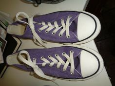 33c45dc2eae76 Converse All Star Low Top Purple Canvas Lace Up Tennis Shoes M-6 W-