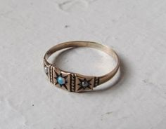 Antique Victorian Ring / 10k Gold Opal and Pearl Band Ring c.1890s. $268.00, via Etsy.
