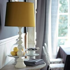 10 yellow lamp shades for this season wall colors decor идеи Living Room Grey, Living Room Furniture, Living Room Decor, Dining Room, Beach Furniture, Living Room Lighting Design, Living Room Designs, Yellow Lamp Shades, Dark Grey Walls