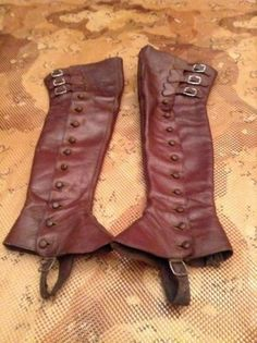 Old Vintage Leather Leggings Half Chaps with Buttons Down The Side | eBay