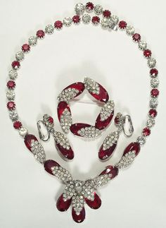 Stunning Kramer Red & Clear Rhinestone Necklace Parure