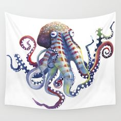 watercolor, octopus, tentacles, colorful...