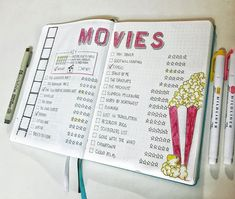 Keep in your bullet journal all the movies and tv shows you have watched or want to experience. Here are 37 gorgeous bullet journal movie tracker spread ideas for your bullet journal. Bullet Journal Films, Bullet Journal Netflix, Bullet Journal Tracker, Bullet Journal Notebook, Bullet Journal Aesthetic, Bullet Journal Inspo, Bullet Journal Examples, Movie Bullet, Bellet Journal