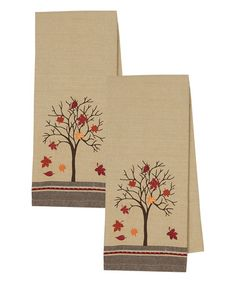 Look what I found on #zulily! Fall Tree Embellished Dish Towel - Set of Two #zulilyfinds