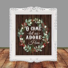 Bible Verse O Come let us adore Him Hymn Merry by glorydesigns