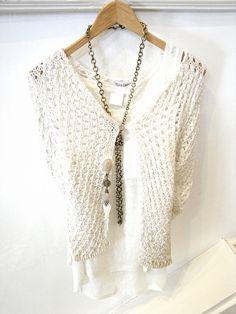 Elisa Cavaletti cardigan, £69.95 Inwear vest, £34.95 Tutti gold chain necklace, £37.50