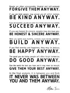 Cows, Corn & Country Girls: Wednesday Wisdom | Do Good Anyway    Source: youthhasnoage.files.wordpress.com