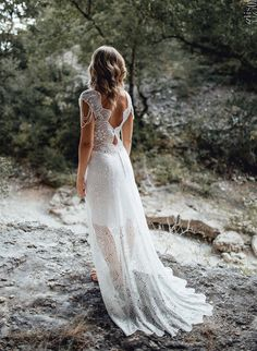 Myrna Collection 2017, backless wedding dress with lace cotton & chiffon honeycomb