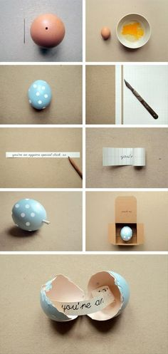 Make a cute little message inside an egg - adorable hand delivered invitations for Easter