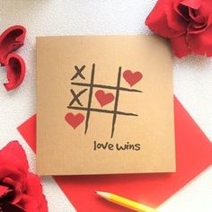 Blank Card Love Wins Hearts and Crosses Noughts by KushiyaDesigns