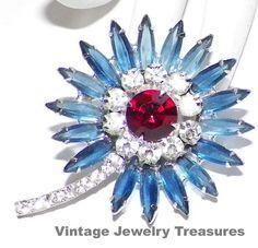 Vintage Juliana Blue Red & Clear Rhinestone by basketcasedebra, $49.99