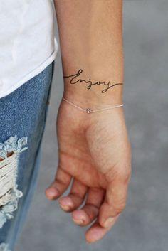 Temporary wrist tattoo 'Enjoy' van Tattoorary op Etsy, $6.00