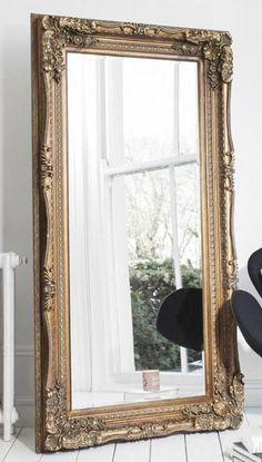 Ella Champagne Silver Ornate Leaner Vintage Floor Mirror