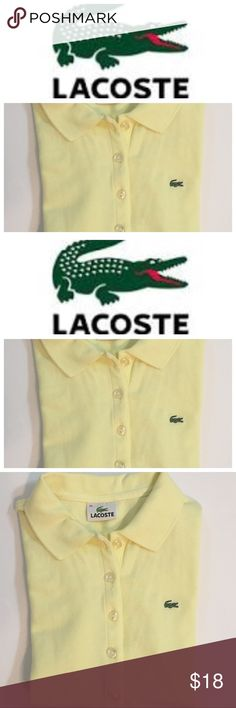 Lacoste Girls Yellow Polo Size 6 Lacoste yellow shirt sleeve polo. Size 38 which is about a size 6. Measures 16 in across chest. Preowned and clean. Check out my closet to save on bundles. Lacoste Shirts & Tops Polos