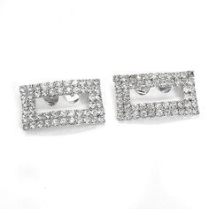 Mid Century Rhinestone Shoe Clips Prong-set Rectangular Silver Plated by QVintageJewelry