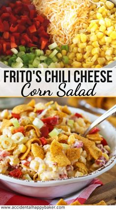 Frito's Chili Cheese Corn Salad Frito chili cheese corn salad couldn't be easier, or more delicious! Crisp veggies, crunchy Frito's corn chips, cheddar cheese and a zippy creamy dressing. Mexican Salad Recipes, Corn Salad Recipes, Mexican Salads, Corn Salads, Chicken Salad Recipes, Easy Salads, Healthy Salad Recipes, Summer Salads, Vegetable Recipes