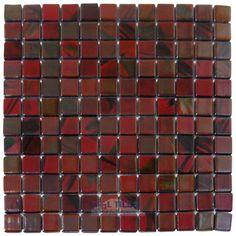 Vidrepur | VID-782 | Brushed Black / Red Iridescent | Tile > Glass Tile