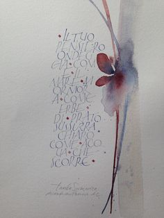 Calligraphy and watercolor by Gisella Biondani