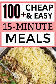 The best cheap delicious dinner ideas for families on a budget. #dinnerideasonabudget #budgetfriendlydinnerideas #cheapdinnerideas 15 Minute Dinners, Fast Dinners, Cheap Dinners, Easy Weeknight Meals, Quick Meals, Fast Easy Dinner, Dinner On A Budget, Cooking On A Budget, Easy Healthy Recipes