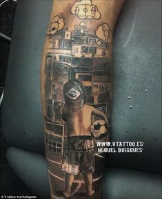 Love Neymar's new tattoo! Shows him as a boy dreaming about football, the Champions League and a house