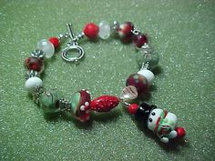 Snowman and holiday colors lampwork beads by LEFIALYNNCREATIONS, $50.00