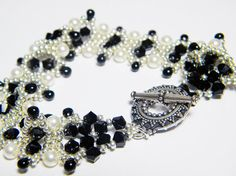 READY TO SHIP Moonlight at Midnight Jet Swarovski Crystal and Cream Pearl Bracelet by WhimsyBeading, $40.00