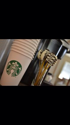 If your having a Starbucks themed party most Starbucks stores will donate their cups to you! Cups and homemade chocolate spoons! Hubby Birthday, 30th Birthday Parties, Themed Parties, Birthday Ideas, Starbucks Wedding, Starbucks Birthday Party, Coffe Bar, I Love Coffee, Party Co