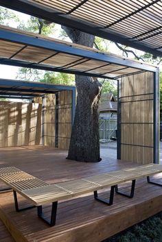 Shade structure, trellis, wood, steel, pod, outdoor room |MCKAY_DUPLANTIER_4