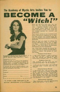 become a witch vintage ad
