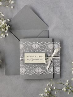 Custom listing 100 Ivory Lace  Wedding Invitations, Grey Wedding Invitation, Pocket Fold Wedding Invitations , Vintage Wedding invitation