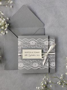 Custom listing 100 Ivory Lace Wedding Invitations, Grey Wedding Invitation, Pocket Fold Wedding Invitations , Vintage Wedding invitation