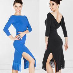Woman's Long-sleeve Latin dance skirt Latin dance one-piece dress paragraph tassel Latin dance hypertensiveperson skirt US $35.80