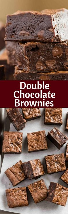 Double Chocolate Brownies that are seriously so fudgy they will stick to your teeth. #chocolate #brownies #fudgy