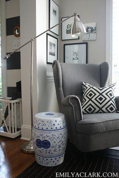 My little reading corner:  http://emilyaclark.blogspot.com/2013/09/my-little-corner-of-world.html