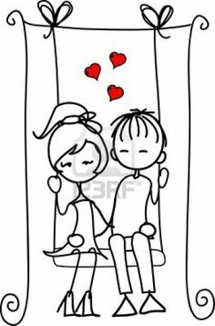 Valentine Doodle Boy And Girl Royalty Free Cliparts, Vectors, And Stock Illustration. Cartoon Drawings, Art Drawings, Valentine Doodle, Valentines, Stick Figures, Digi Stamps, Grafik Design, Rock Art, Doodle Art