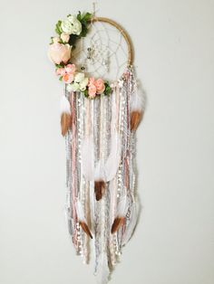 Dreamcatcher, Boho Dreamcatchers, Flower Dreamcatcher, Modern Wall Hanging, Boho chic Dream catcher, Dreamcatcher Wall Hanging, 3 Sizes #dream_catcher_nursery