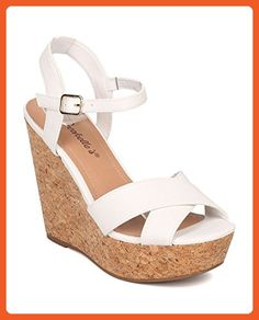 b1beddfc767 Women Faux Cork Platform Wedge Sandal - Ankle Strap Wedge - Peep Toe Sandal  - HK37 By Breckelles - White Leatherette (Size  8.0) - Sandals for women ...
